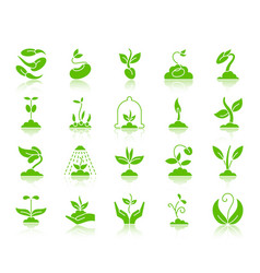 Sprout green silhouette icons set vector