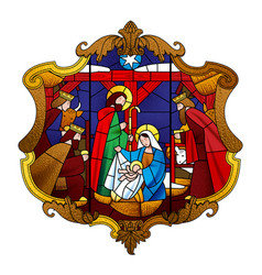 Stained glass window depicting christmas scene in vector