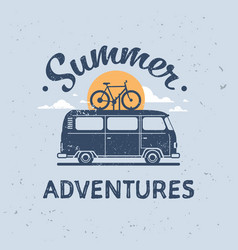 summer adventures surf bus bike retro surfing vector image