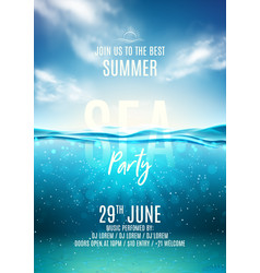 Summer sea party poster template vector