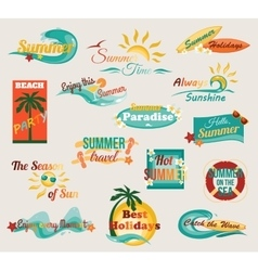Summer typographical elements for design Retro vector