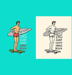 surfer rides waves on a board summer surf vector image