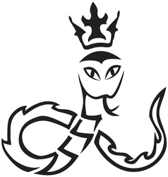 Tribal A snake with a crown vector