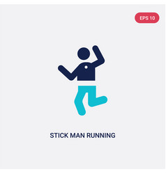 Two color stick man running icon from behavior vector