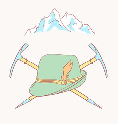 tyrolean hat alpenstock flower symbol alpinism vector image