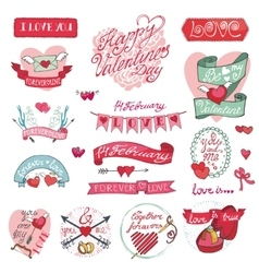Valentines day designlabels icons elements vector