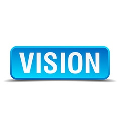 Vision blue 3d realistic square isolated button vector