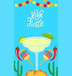 viva la fiesta hand drawn lettering festive vector image