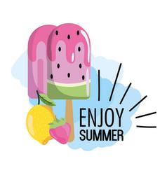 Watermelon ice lolly with tropical lemon vector