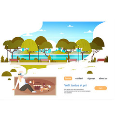 Woman wear digital glasses having picnic in city vector