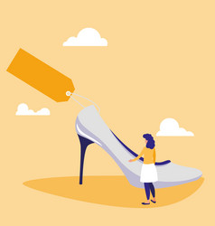 woman with heel shoe and tag commercial vector image