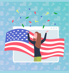 woman with usa flag celebrating 4th july in web vector image