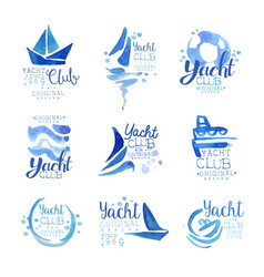 yacht club since 1969 logo original design set vector image
