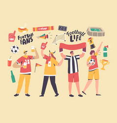 Young football supporter fans characters cheering vector
