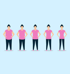young woman losing weight while doing fitness vector image