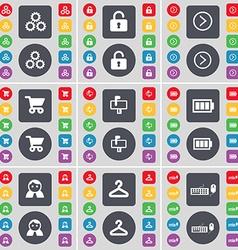 Gear Lock Arrow right Shopping cart Mailbox vector image vector image