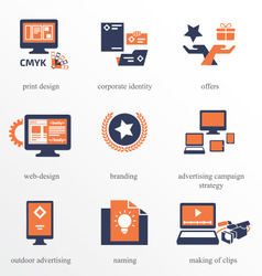 Icons set for Advertisement Company vector image vector image