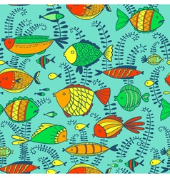 pattern with doodle fishes vector image vector image