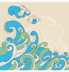Retro sea waves background vector image