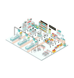 supermarket interior grocery store colorful vector image