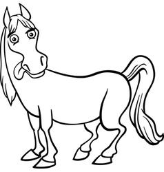 farm horse cartoon for coloring book vector image
