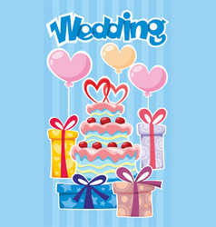 greeting wedding poster vector image