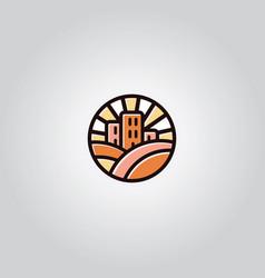 vintage building logo vector image