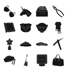 accessories bag mine and other web icon in black vector image