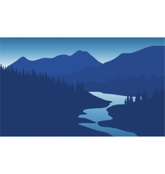 Beautiful mountain landscape with the river vector