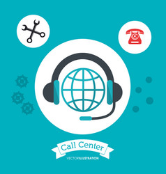Call center headphones global attention help vector