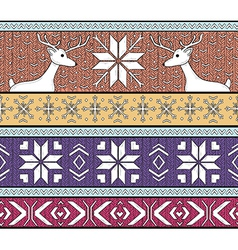 Hand drawn seamless knitted fair isle background vector