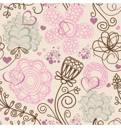 Retro romantic seamless pattern vector image vector image