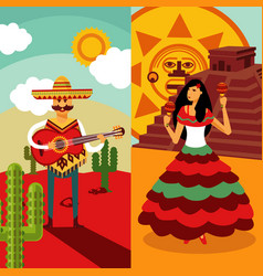 traditional mexico vertical banners vector image vector image