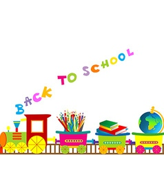 Back to school with cartoon train vector image vector image