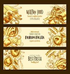 italian durum pasta cuisine banners vector image vector image