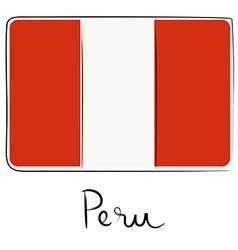 Peru flag doodle vector image vector image