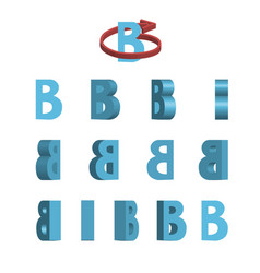sheet of sprites rotation of cartoon 3d letter b vector image vector image