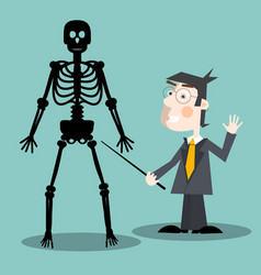 teacher with human skeleton vector image