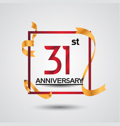 31 anniversary design with red color in square vector
