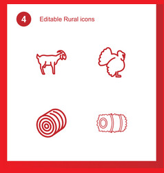 4 rural icons vector