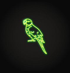 alexandrine parrot icon in glowing neon style vector image