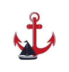 Anchor and sail boat icon vector