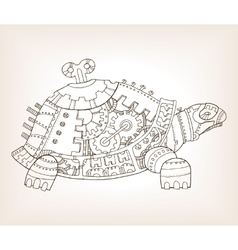 Ancient draft of mechanical turtle vector