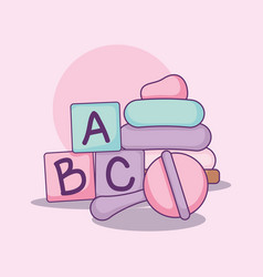 Baby shower card with alphabet blocks and toys vector