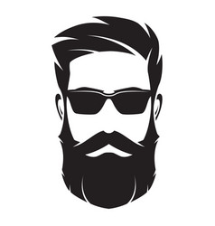 Bearded man s face hipster character fashion vector