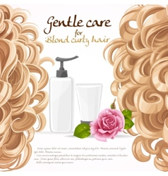 Blond curled hair care background vector