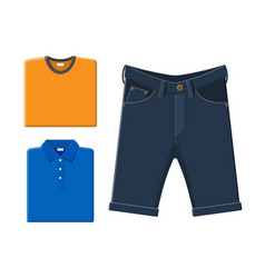 Blue polo shirt orange t-shirt jeans shorts vector