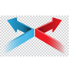 Blue red arrow 3d direction on transparent vector
