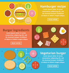 Burger kit banner horizontal set flat style vector