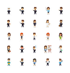 business characters icons set vector image